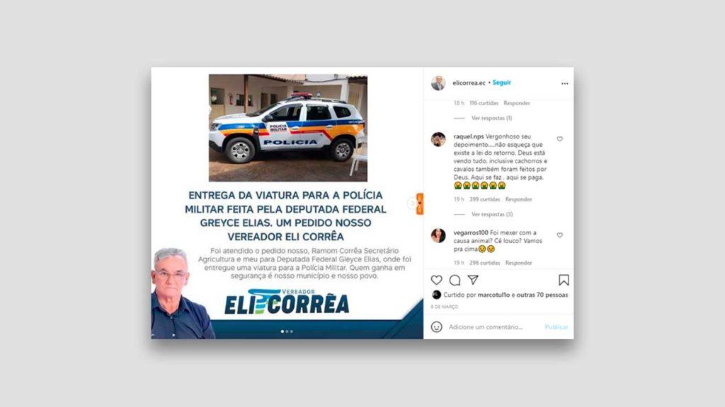 Instagram do Eli Correa onde internautas condena o discurso feito em sessão da Câmara