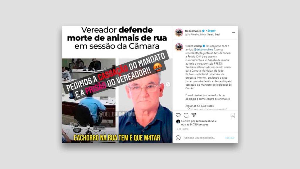Publicação do Deputado Federal Fred Costa sobre a fala de Eli Correa