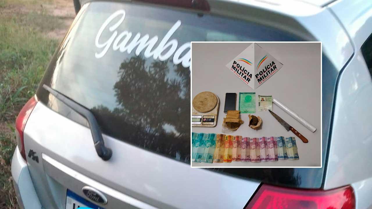 Drogas e veículo apreendido pela Polícia Militar