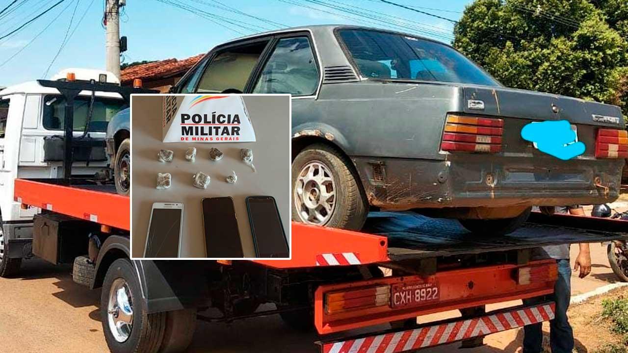 Veículo e drogas apreendidos com supostos assaltantes