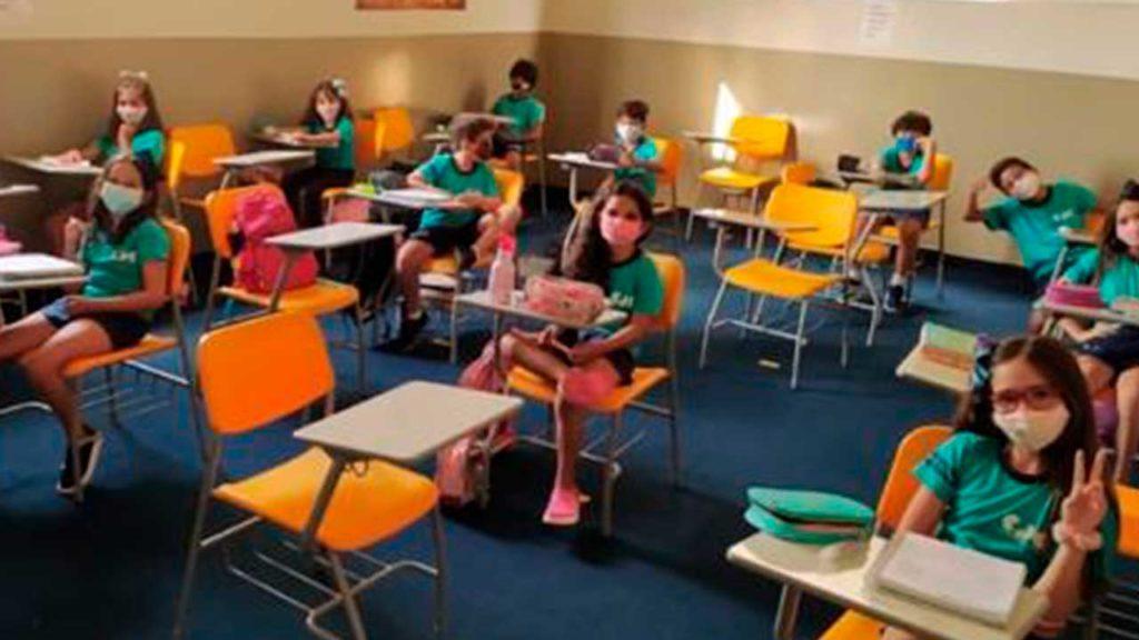 Sala de aula no Colégio Darcília Coimbra