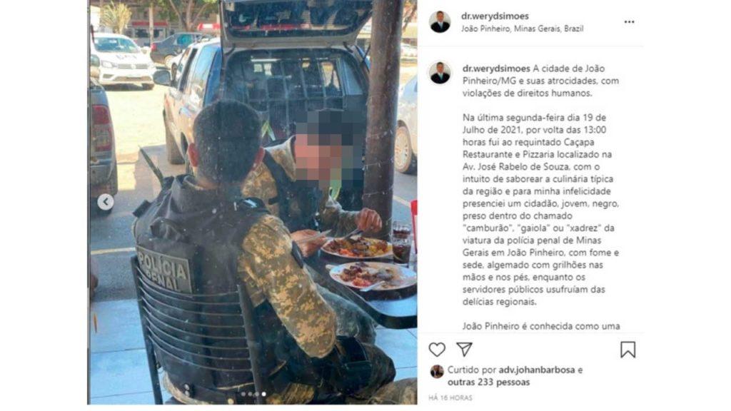 Advogado critica almoço de policiais penais que transportavam preso e cria polêmica em João Pinheiro