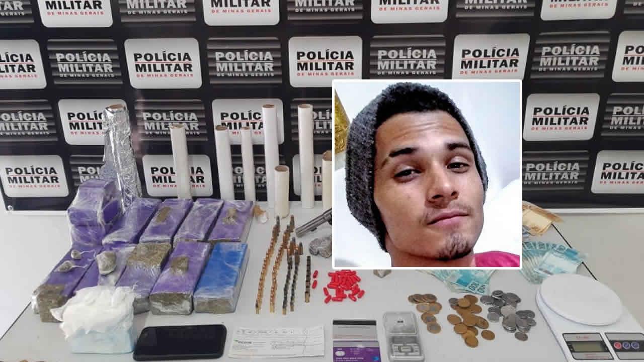 PM apreende pasta base avaliada em R$50 mil, arma, munições e muito dinheiro em João Pinheiro
