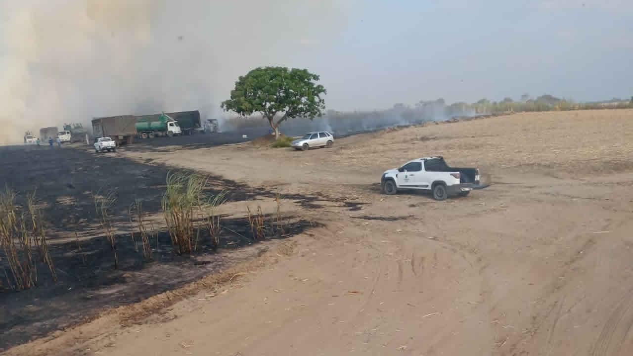 Incêndio destrói cerca 15 hectares de canavial em fazenda pertencente a usina de João Pinheiro